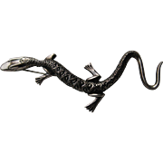 Vintage Salamander Lizard Signed Sterling Silver REALISTIC Pin Brooch 1940's