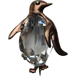 Vintage Penguin Crystal Jelly Belly Signed Sterling Figural Bird Pin Brooch