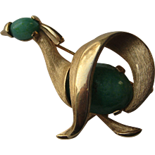 Vintage Kramer Signed Abstract Bird Green Jade Glass Rhinestone Brooch Pin