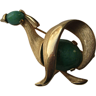 Vintage Kramer Signed Abstract Bird Green Jade Glass Rhinestone Brooch Pin