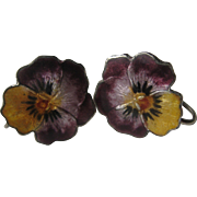 Vintage PANSY Flower Enamel Sterling Screw In Earrings 1940's Realistic