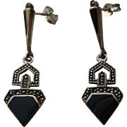 Vintage Art Deco Sterling Onyx Marcasite Pierced Earrings Signed Italy