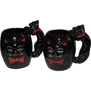 Vintage Black Cat  2 Mugs Shafford  MINT 1950's Japan