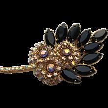 Vintage Beautiful D@E Julianna Black AB Rhinestone Leaf Brooch Pin