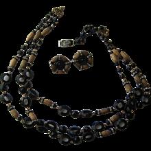 Vintage Hobe Signed Demi Parure Necklace Earrings Black Lucite Original Tag