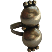 Vintage Taxco Mexico Ring Silver Balls 1930's Size 7 Large