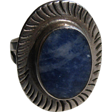 Vintage LAPIS Sterling Silver Ring Size 5 Signed
