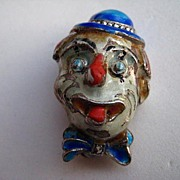 Vintage Alice Caviness Clown Germany Sterling Silver Enamel Marcasite Pin Brooch