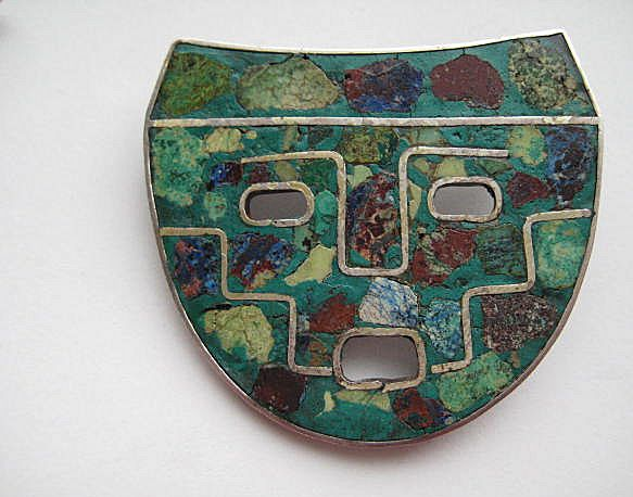 "Vintage Taxco Mexico ""MASK""  Turquoise Sterling Inlaid Pendent Brooch Pin"