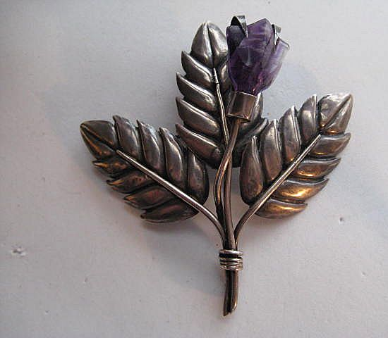 Vintage Taxco Mexico Carved Amethyst Flower Silver Three Leaf Brooch Pin
