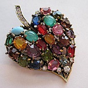 Vintage Hobe Leaf Moonstone Rhinestone Moonglow Rainbow Brooch Pin
