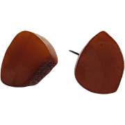 Vintage Art Deco Amber Sterling Cuff Links Silver