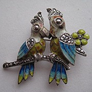 Vintage Alice Caviness Love Birds Figural Germany Enamel Marcasite Silver Brooch Pin