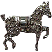 "Vintage Crown Trifari "" Mini ""  Horse  MINT Rhinestone Silver Rhodium Brooch Pin Rare"