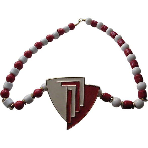 Vintage Crown Trifari  Enamel  Red White Plastic Deco Look BIG Necklace