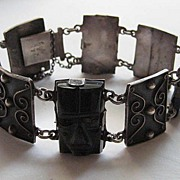 Vintage Mexico Taxco Bracelet Sterling Silver Black Onyx Beautiful Filagree