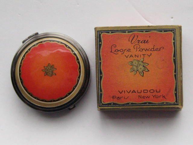 Vintage VIVAUDOU Enamel  Floral Compact With Box Sudan Early