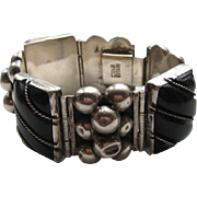 Vintage Mexico Taxco Black Onyx ROPE Design Silver Balls Bracelet