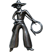 Vintage Cowboy Figural Sterling Silver  With Lasso Brooch Pin