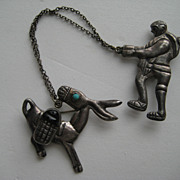 Vintage Mexico Taxco Figural Donkey Farmer Black Onyx Chatelaine Turquoise  EARLY