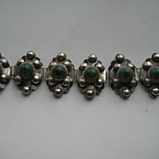 "Vintage Mexico Taxco "" PUFFY "" 3-D Bracelet Silver Jade Cabochons"