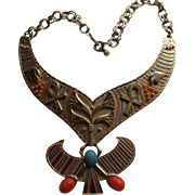 Vintage Egyptian Cleopatra King TuT MASSIVE BIB  Enamel Scarab Dangle Necklace Carnegie Style