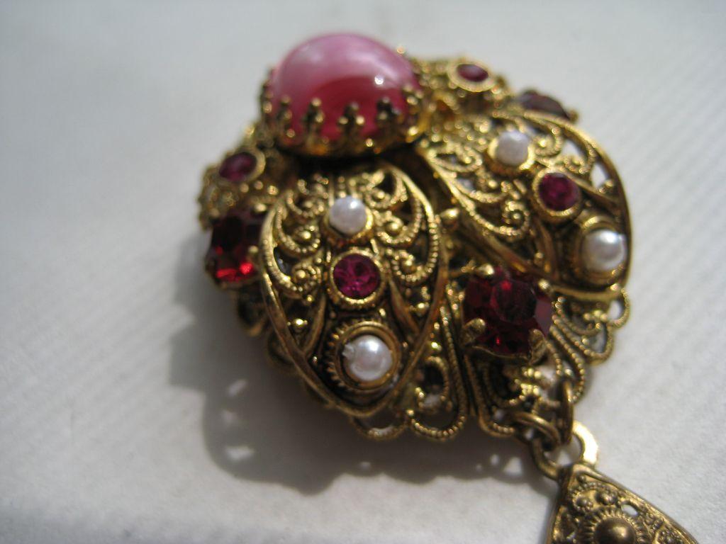 Vintage West Germany Red Pink Tiger Stripe Necklace