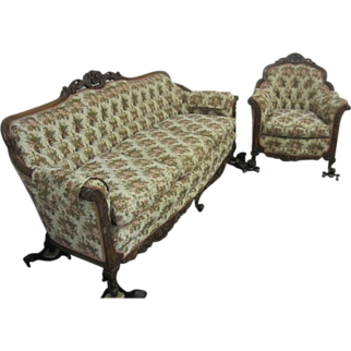 Ornate Walnut Sofa And Chair Set