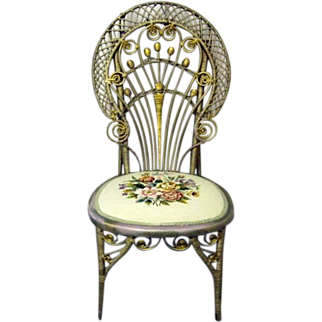 Antique Wicker & Needlepoint Victorian Style Chair