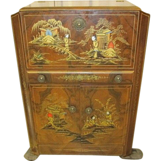 Hand Painted Oriental Liquor Cabinet