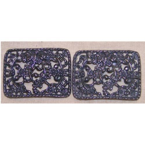 Pair Vintage Openwork Floral Shoe Clips