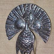 Figural 900 Silver Industria Peruvana Peacock Pin Brooch