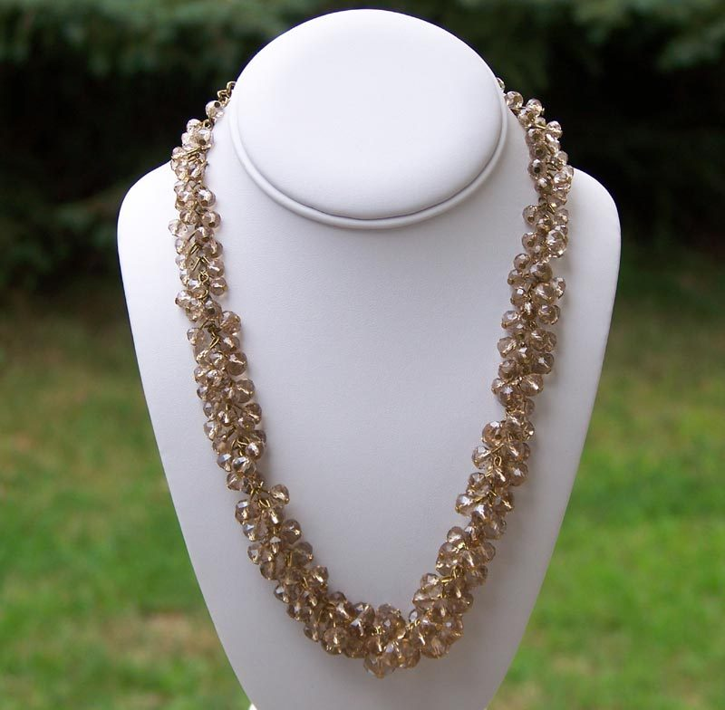 Champagne Bead Dangle ChaCha Necklace Vintage  Quality