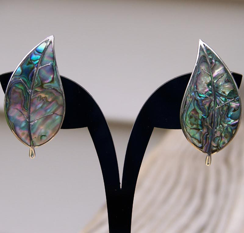 Sterling Silver Abalone Leaf Screw Back Earrings Mexico