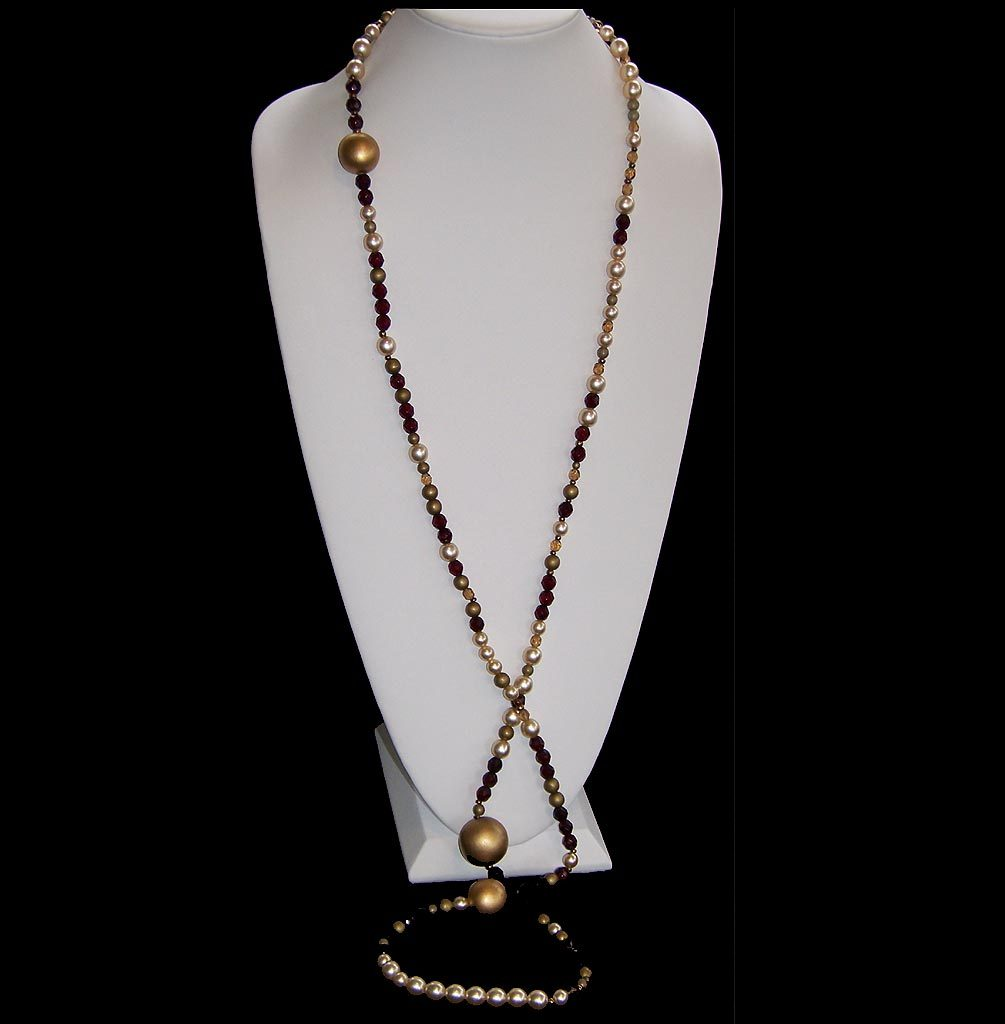 Paule Ka Red, Gold and Amber Bead Necklace with Faux Pearls