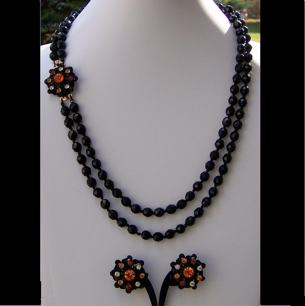 Hobe Original Tag Black Orange Demi Vintage Necklace Earring Set