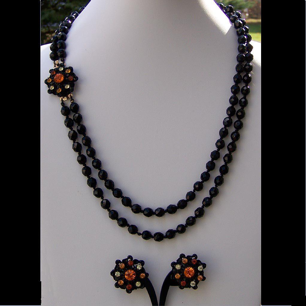 Hobe Original Tag Black Orange Demi Vintage Necklace Earring Set