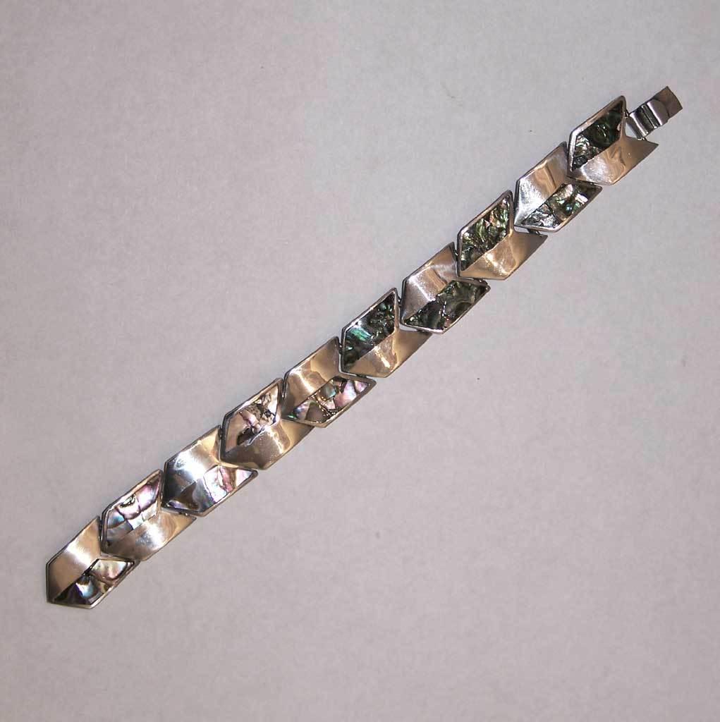 Taxco Modernist Abalone Paua Silver Bracelet Chevron Mexico SS Sterling