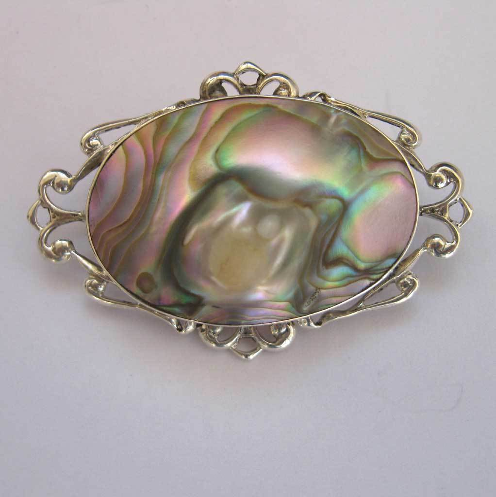Sterling Abalone Mabe Blister Pearl Pin Brooch Silver