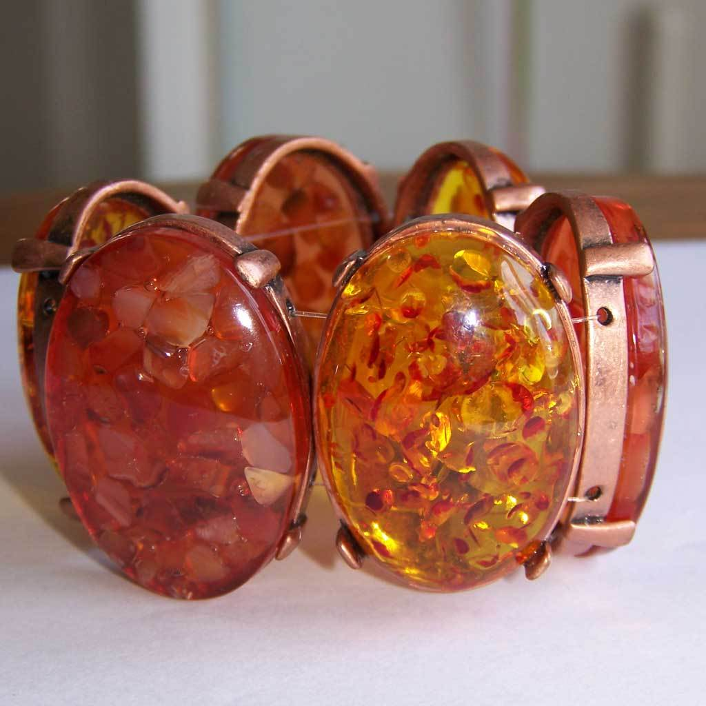 Faux Amber Confetti Lucite Stretch Bracelet Chunky