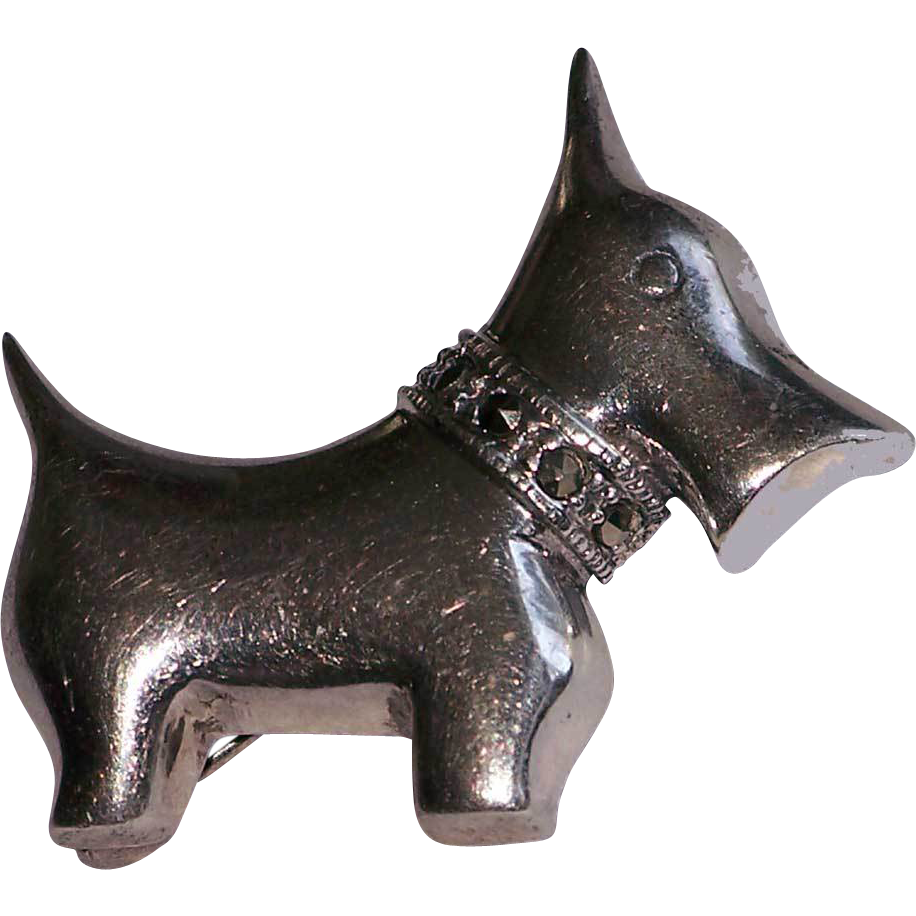Sterling Silver Scotty Scottie Dog Pin Cut Steel Collar 925 SS