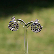 Sterling Silver Coil White  Black Crystals Post Pierced Earrings