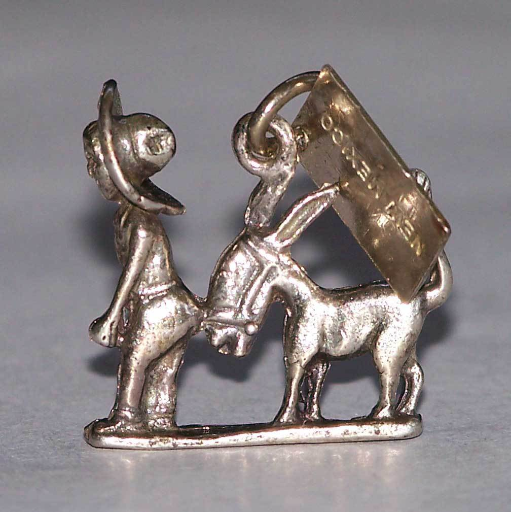 Sterling Bell Trading New Mexico Charm Burro Donkey Sombrero Man Silver SW SS