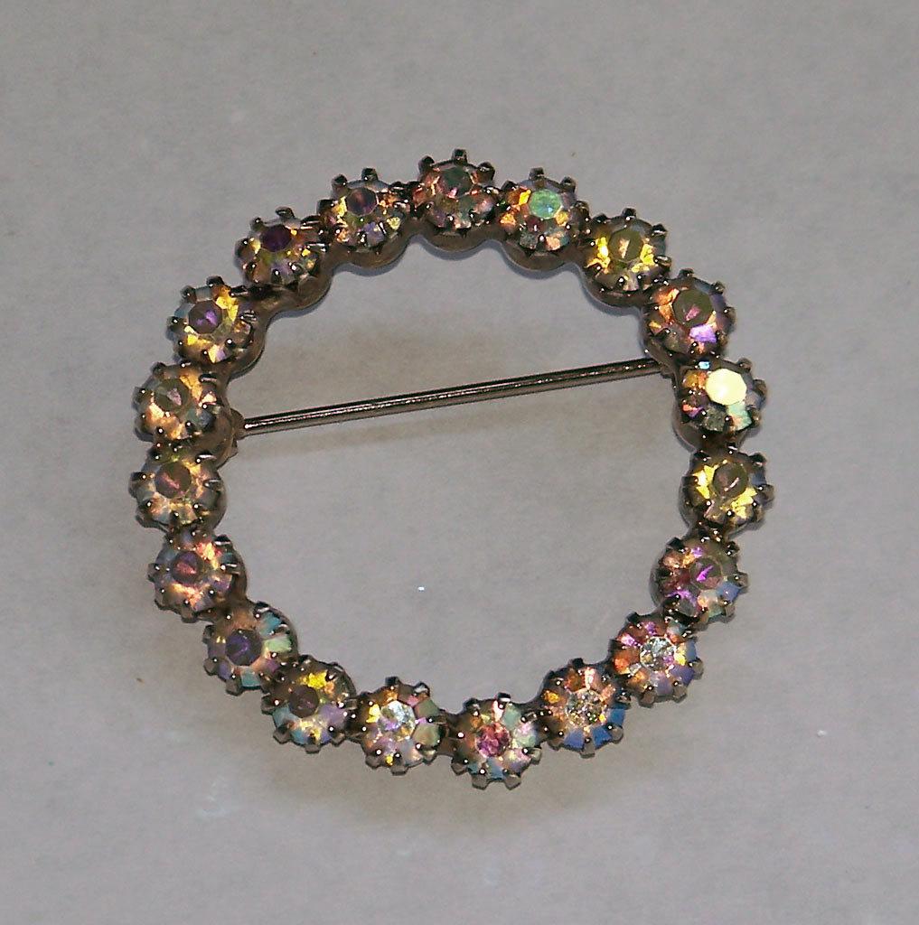 Vintage Silvertone AB Circle Pin Brooch circa 1960 Prong Set Aurora Borealis
