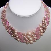 Vintage Pink Art Glass Bead Necklace 4 Strand  Japan