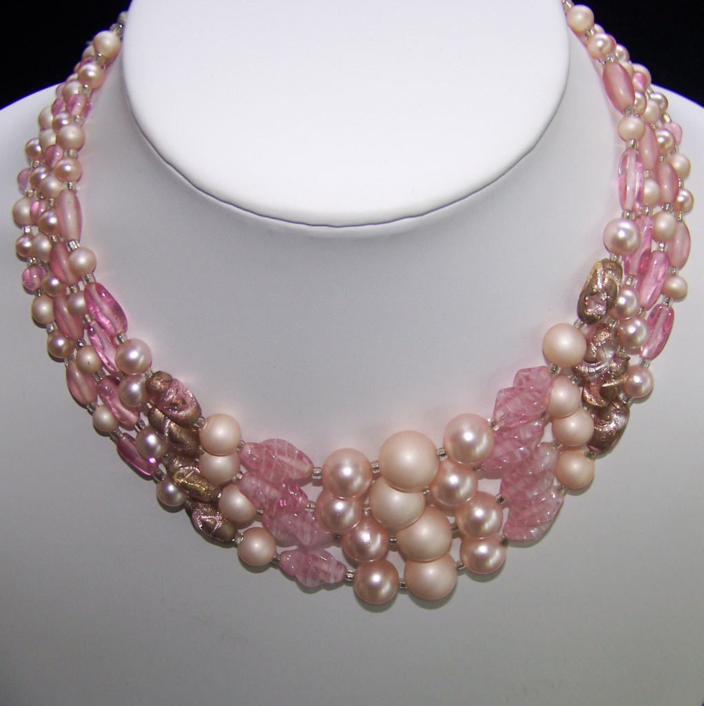Vintage Pink Art Glass Bead Necklace 4 Strand  Japan