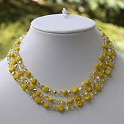 Vintage Yellow AB Art Glass Bead 3 Strand Necklace Aurora Borealis