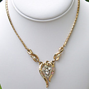 Trifari Alfred Phillippe Necklace Book Piece 1953 Rhinestone Goldtone