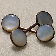 Antique Shirtwaist Fasteners Linked Buttons MOP Mother of Pearl Brass Patent 1899