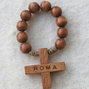 Vintage Olivewood Single Decade Finger Rosary Bead Set